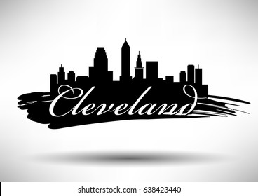 Vector Graphic Design of Cleveland City Skyline