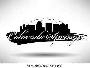 Vector Graphic Design of Colorado Springs City Skyline