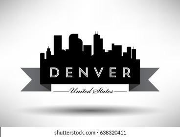 Vector Graphic Design of Denver City Skyline