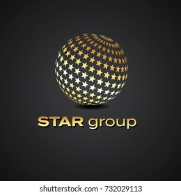 Vector graphic design element / Globe made out of stars