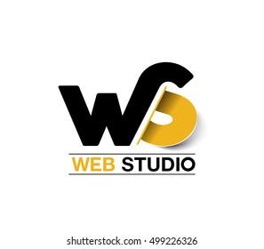 Vector graphic design element - Ws letter ( Web Studio )