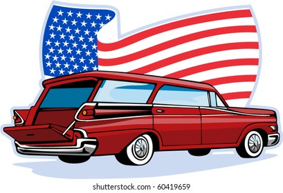 vector graphic design illustration of a 1950's styled station wagon isolated on white viewed from low angle done in retro style