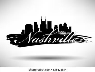 Vector Graphic Design of Nashville City Skyline