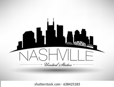 Vector Graphic Design of Nashville City Skyline