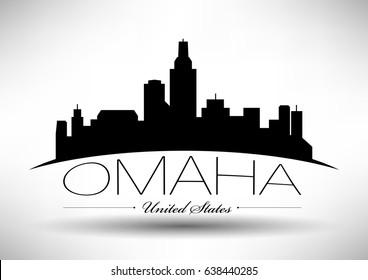 Vector Graphic Design of Omaha City Skyline