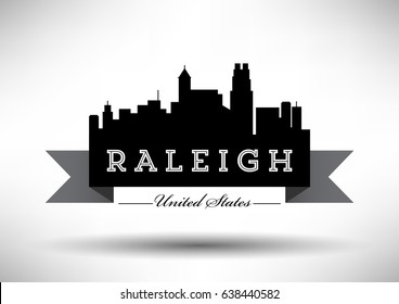 Vector Graphic Design of Raleigh City Skyline