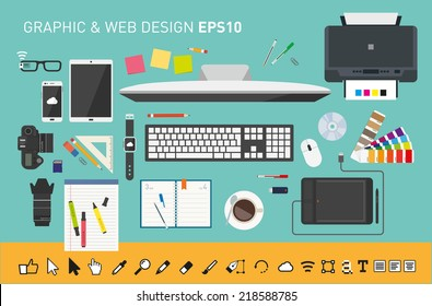 Vector graphic designers desk