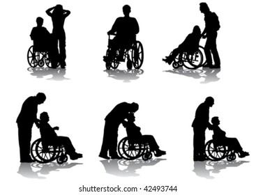 Vector graphic disabled in a wheel chair. Silhouettes on a white background