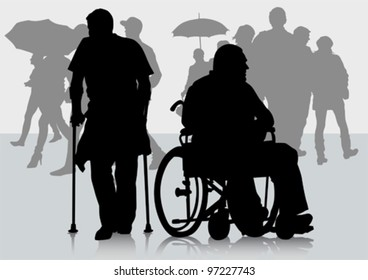 Vector graphic disabled in a wheel chair. Silhouettes of people