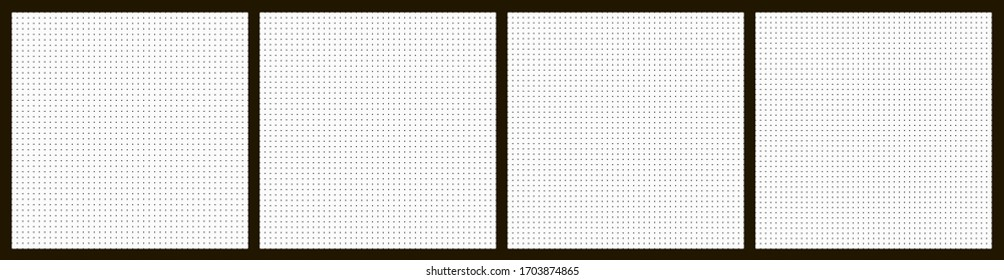 Vector graphic dot background set. Vector dot template background set for taking notes or web design.