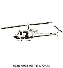 vector graphic drawing of helicopter, period of the Vietnam War, isolated, black color, symbol, logo illustration