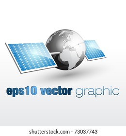 vector graphic of the earth with solar panels 01