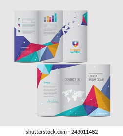 Vector graphic elegant abstract business brochure design with spread pages