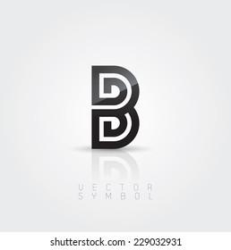 Vector graphic elegant and creative line alphabet / Letter B / symbol
