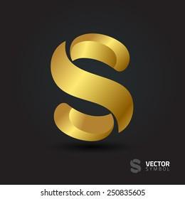 Vector graphic elegant curly alphabet symbol / Letter S