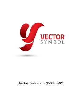 Vector graphic elegant curly alphabet symbol / Letter Y
