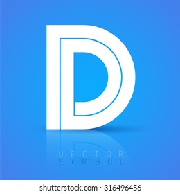 Vector graphic elegant font with sample text / symbol / alphabet / Letter D