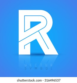 Vector graphic elegant font with sample text / symbol / alphabet / Letter R