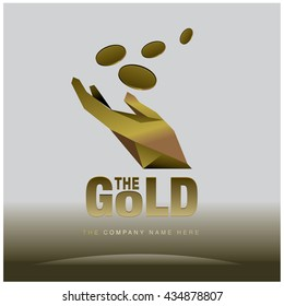 Vector graphic elegant gold, coins and hand. Business and finance logo design illustration.