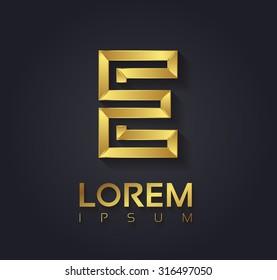 Vector graphic elegant golden font with sample text / symbol / alphabet / Letter E