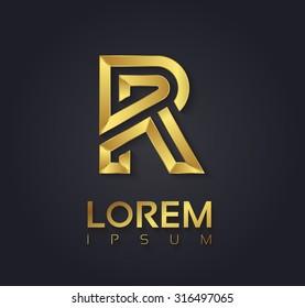 Vector graphic elegant golden font with sample text / symbol / alphabet / Letter R