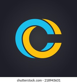 Vector graphic elegant impossible alphabet symbol in two colors / Letter C