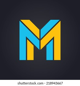 Vector graphic elegant impossible alphabet symbol in two colors / Letter M