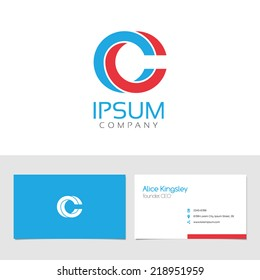 Vector graphic elegant impossible alphabet symbol / identity / business card in two colors / Letter C