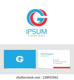 Vector graphic elegant impossible alphabet symbol / identity / business card in two colors / Letter G