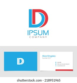 Vector graphic elegant impossible alphabet symbol / identity / business card in two colors / Letter D