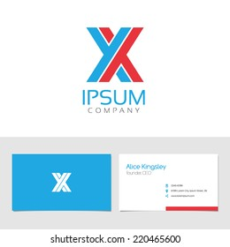 Vector graphic elegant impossible alphabet symbol / identity / business card in two colors / Letter X