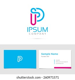 Vector graphic elegant impossible alphabet symbol / identity / business card in two colors / Letter P