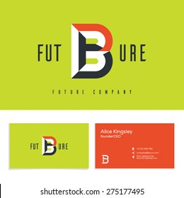 Vector graphic elegant impossible alphabet symbol. Identity, business card in two colors, Letter B.