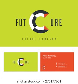 Vector graphic elegant impossible alphabet symbol. Identity, business card in two colors, Letter C.