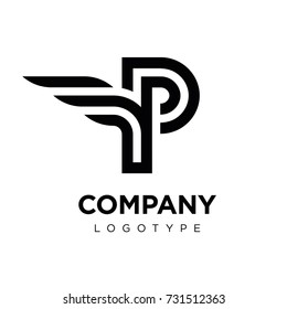 Vector graphic elegant logotype with wing / Letter P