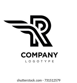 Vector graphic elegant logotype with wing / Letter R