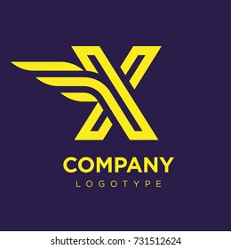 Vector graphic elegant logotype with wing / Letter X