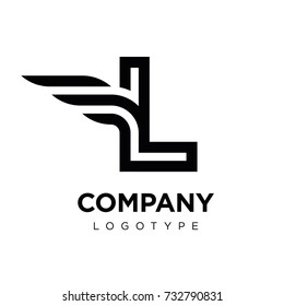 Vector graphic elegant logotype with wing / Letter L