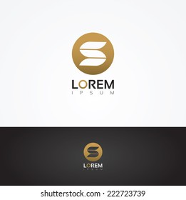 Vector graphic elegant S symbol in golden circle with sample text for your company