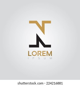 Vector graphic elegant silhouette alphabet symbol in two colors / Letter N
