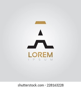 Vector graphic elegant silhouette alphabet symbol in two colors / Letter A