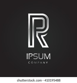 Vector graphic elegant silver font with sample text / symbol / alphabet / Letter R