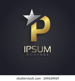 Vector graphic elegant sliced alphabet symbol with star element on top in silver and gold color with sample text / Letter P