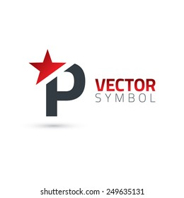 Vector graphic elegant sliced alphabet symbol with star element on top / Letter P