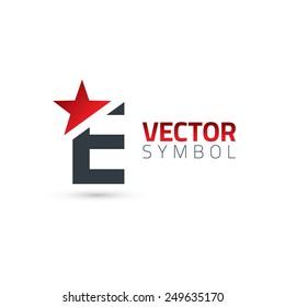 Vector graphic elegant sliced alphabet symbol with star element on top / Letter E