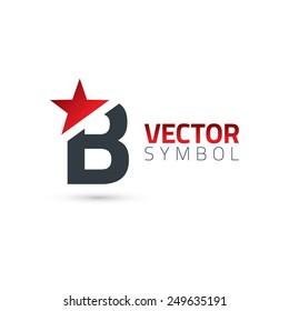 Vector graphic elegant sliced alphabet symbol with star element on top / Letter B