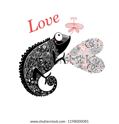 Vector graphic enamored chameleon with a heart and a butterfly on a white background