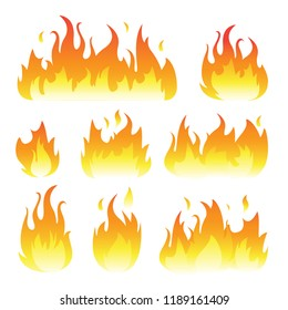 Vector graphic flames illustration isolated on white