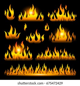 Vector graphic flames illustration isolated on black background