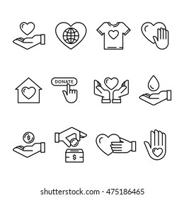 Vector graphic flat icon set for charity donation organization, volunteer center and fundraising event. Clean and simple outline design elements, symbols and pictograms